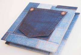 """Carte anniversaire """" livret"""" patchwork jeans imprimé sur papier"""