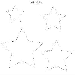 1/ à partir des gabarits découpez vos étoiles de différentes tailles dans différents papier